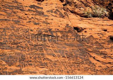 Ancient Petroglyphs in the Valley of Fire, Nevada, USA - stock photo