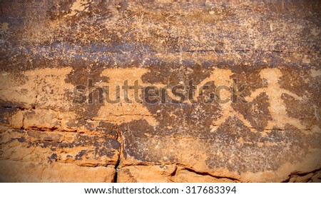 Ancient petroglyphs on rock, Valley of Fire State Park, Nevada, USA. - stock photo