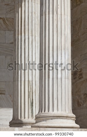 Ancient pillars at the National Academy of Athens, Greece - stock photo