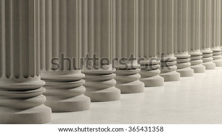 Ancient pillars in a row on marble floor. - stock photo