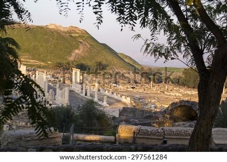 Ancient pillars of ruined roman temple in Beit Shean (Scythopolis), Israel.  - stock photo