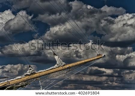 Ancient pirate ship sailing  - stock photo