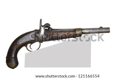 Ancient pistol-is isolated on the white - stock photo