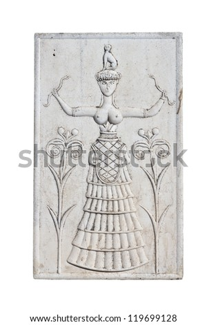 Ancient plaque from Knossos palace at Crete, Greece.  Knossos Palace, is the largest Bronze Age archaeological site on Crete and the  ceremonial and political centre of the Minoan civilization. - stock photo