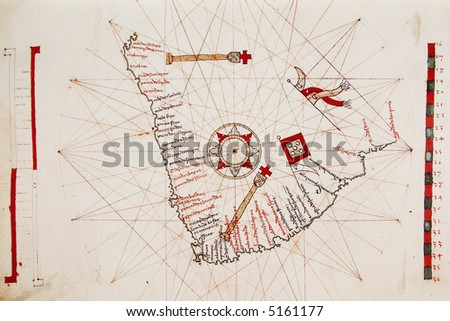 Ancient Portuguese map of south end of Africa