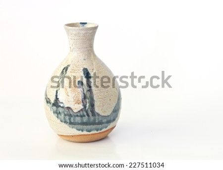 Ancient pottery - amphora with clipping path - stock photo