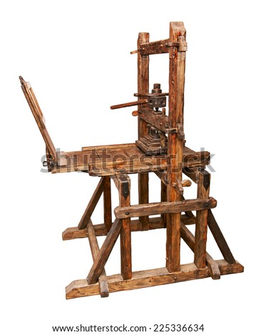 Ancient printing press isolated. Clipping path included. - stock photo