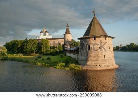 Ancient Pskov Krom on Velikaya river, Russia - stock photo