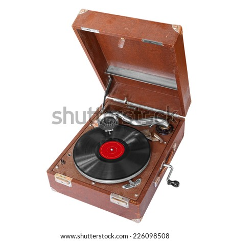 Ancient record player isolated on a white background - stock photo