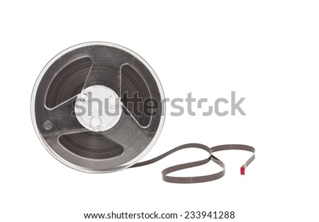 ancient reel audio tape isolated on white - stock photo