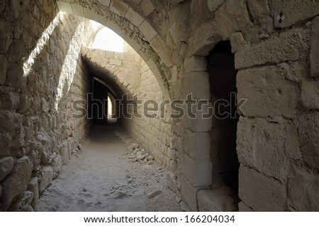 Ancient remains inside Shobak castle, Jordan. - stock photo