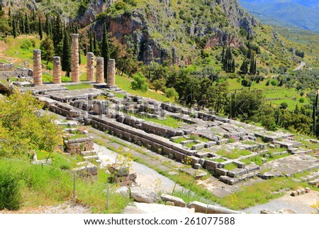 Ancient remains of the large temple of Apollo, Delphi, Greece - stock photo