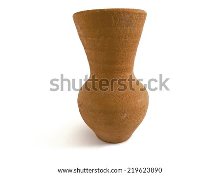 Ancient reproduced clay jug isolated on white background
