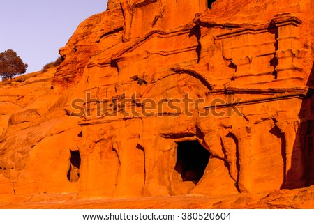 Ancient rock cut architecture of Petra, Jordan. Petra is one the New Seven Wonders of the World