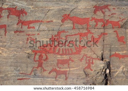 Ancient rock paintings in Naesaaker ins Sweden.