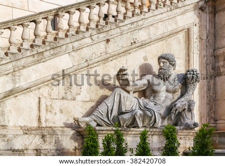 Ancient Roman allegory of Nile River by Matteo di Castello on Capitol Hill in Rome. Statue on the fountain in the square del Campidoglio of Rome, capital of Italy - stock photo