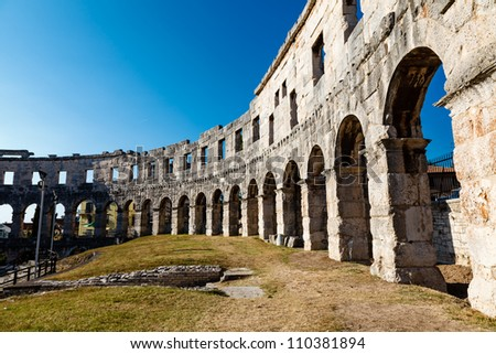 Ancient Roman Amphitheater in Pula, Istria, Croatia - stock photo