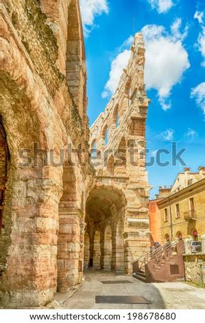 Ancient Roman amphitheatre Arena in Verona, Italy - stock photo