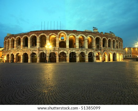 Ancient roman amphitheatre Arena in Verona, Italy at night