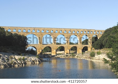 Ancient Roman Aqueduct at Pond du Gard, France