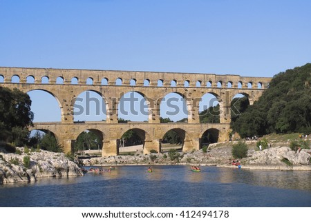 Ancient Roman Aqueduct at Pont du Gard, France