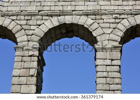 Ancient Roman aqueduct bridge of Segovia, Castilla Leon, Spain  - stock photo