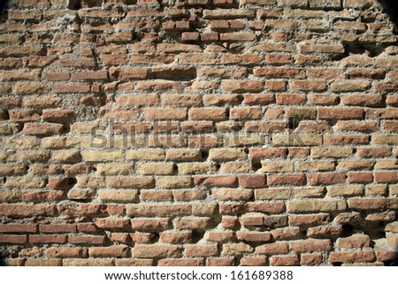 Ancient Roman Brick Wall Background - stock photo