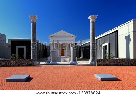 Ancient roman building at blue sky