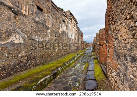 Ancient Roman city of Pompei, Italy. City was destroyed and buried with ash after Vesuvius eruption in 79 AD - stock photo