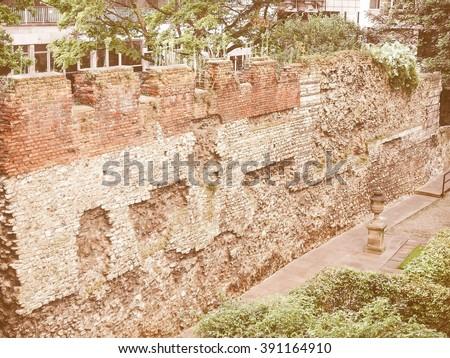 Ancient Roman City Wall ruins, London, UK vintage - stock photo