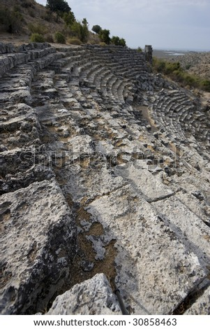 Ancient Roman coliseum seats in Dalyan at the city of Kaunos