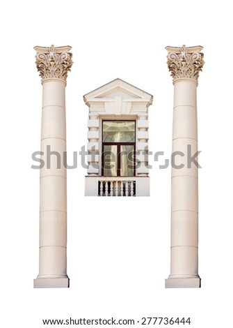 ancient Roman columns and a window isolated on white background. - stock photo