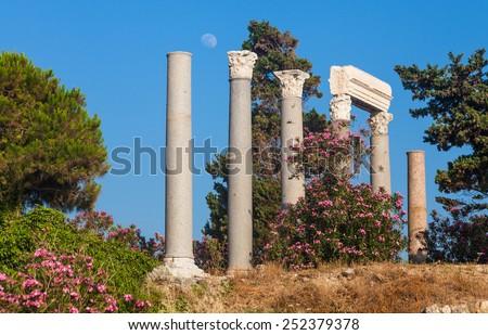 Ancient roman columns in Byblos, Lebanon - stock photo