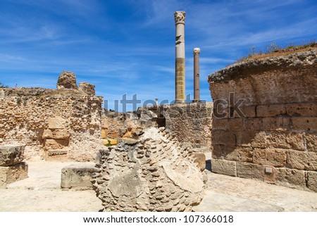 Ancient Roman Empire ruins of Carthage, villas in Tunis - stock photo