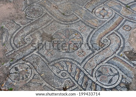 ancient roman floor mosaic with geometric shapes motif and floral pattern abstract background - Ancient Rome Designs