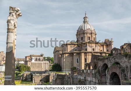 Ancient Roman Forum, the heart of the Italian capital city