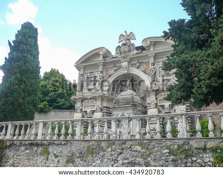 Ancient Roman gardens of Villa D Este in Tivoli near Rome, Italy