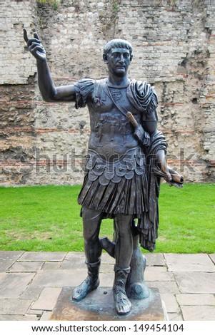 Ancient Roman monument of the Emperor Trajan London UK - stock photo