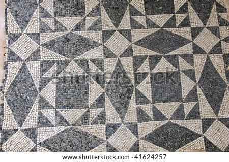 Ancient Roman Mosaic Floor Pattern Black Stock Photo