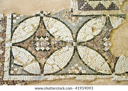 Ancient Roman mosaic in Cyprus.  The site is open to the public and photography is permitted. - stock photo