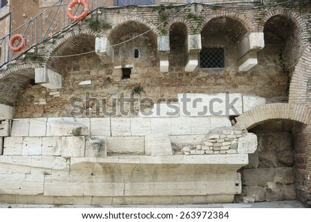ancient Roman remains on the Tiber island, Rome, Italy - stock photo