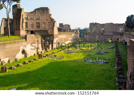 Ancient Roman ruins of the Imperial Palace, at Palatine Hill, Rome, Italy - stock photo