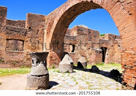 Ancient Roman ruins, the bakery at Ostia Antica, Italy  - stock photo