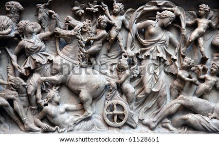 Ancient roman sarcophagus - stock photo