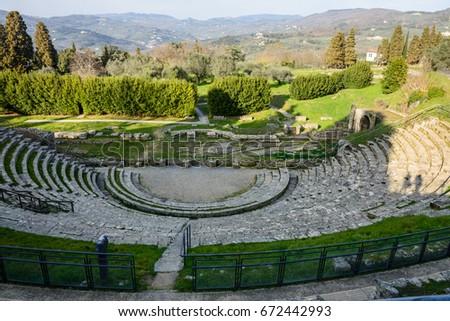 Ancient Roman Theater Near Ruins Roman Stock Photo (Royalty Free ...