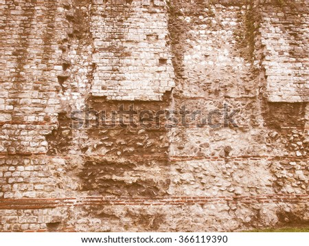 Ancient Roman wall ruins in London, UK vintage - stock photo