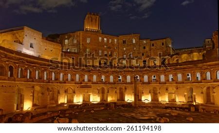 Ancient rome by night - Foro di Traiano - Roma - stock photo