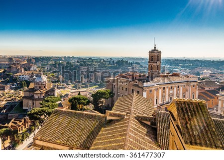 ancient roofs of Rome, Italy