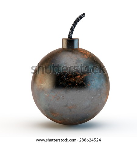 ancient round bomb with a rusty covering and a match
