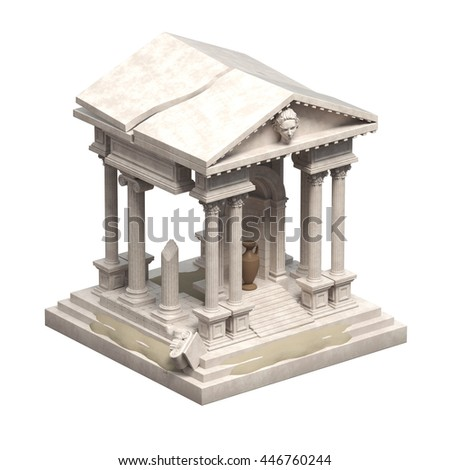 Ancient Ruin Isolated On White 3d Illustration